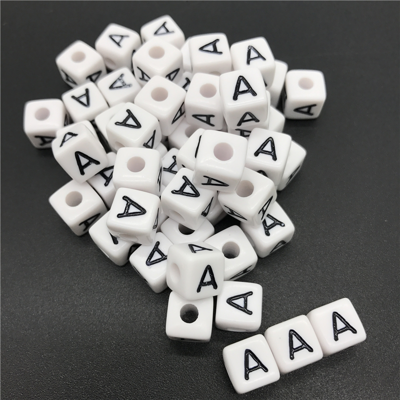 200 Unids Cuentas de Madera Letras Alfabeto Suitable para Collar Pulsera de Bricolaje Blanco