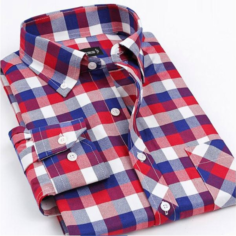 Buy new 2017 brand men shirts long sleeve for Red and white plaid shirt mens
