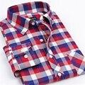 Nuevos 2017 Hombres de Marca Camisas de Manga Larga Casual de Negocios Oxford Shirt Slim Fit Rojo A Cuadros Blanco Azul de Algodón Masculinas Sociales camisas