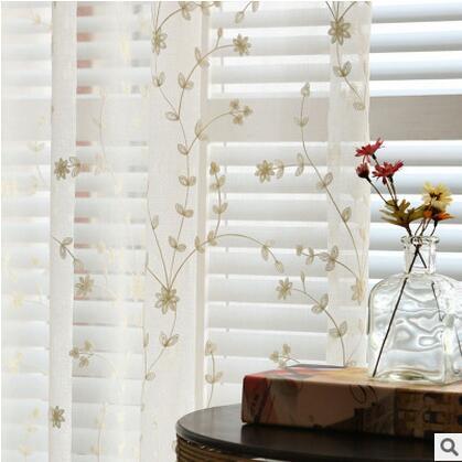Coton Lin/Brodé Tulle rideau pour salon/chambre/balcon fenêtres ...