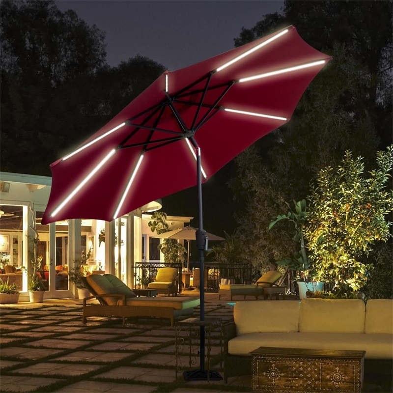 9 Ft Patio Solar Powered Umbrella With LED Light Beach Umbrella High Quality Polyester Fabric Steel Pole Sombrillas Para Jardin