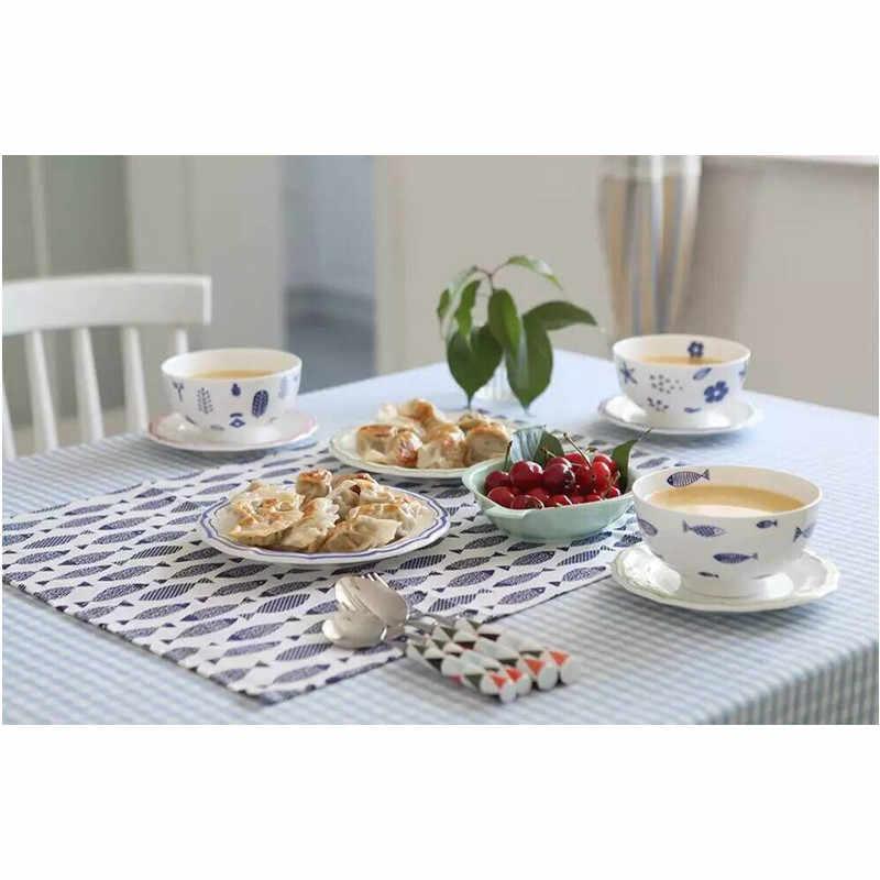 Toallas FullLove, alfombrillas para plato de algodón, 3 unids/set, mesa de té de servilleta con estampado de pescado azul, taza, plato, toalla de limpieza, Textiles creativos para el hogar