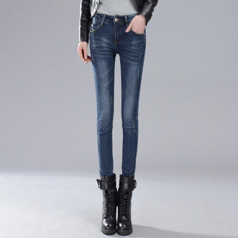 Mid Waist Jeans Full Length Trousers Elastic Skinny Jeans Female Pencil Pants Woman Jeans Women Slim Fashion Denim Navy blue