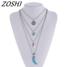 ZOSHI Fashion Women Necklace Blue Gem Stone Statement Necklaces Pendants Vintage Jewelry Multi Layers Long Necklace