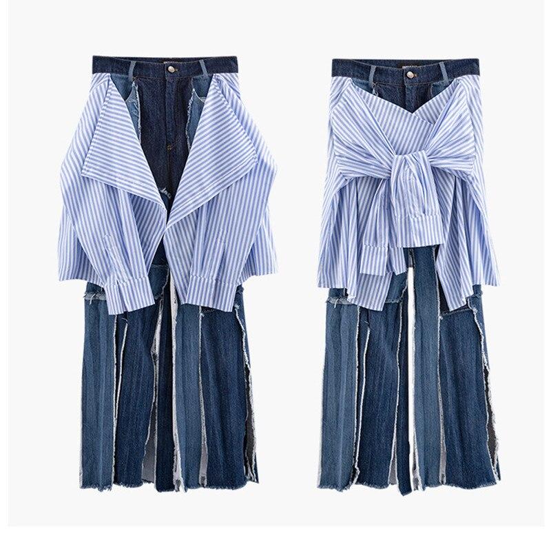 Luxury Designer Brand Skirt For Women Stitching Contrast Stripe Sleeves Broken Side Wide Leg Jeans