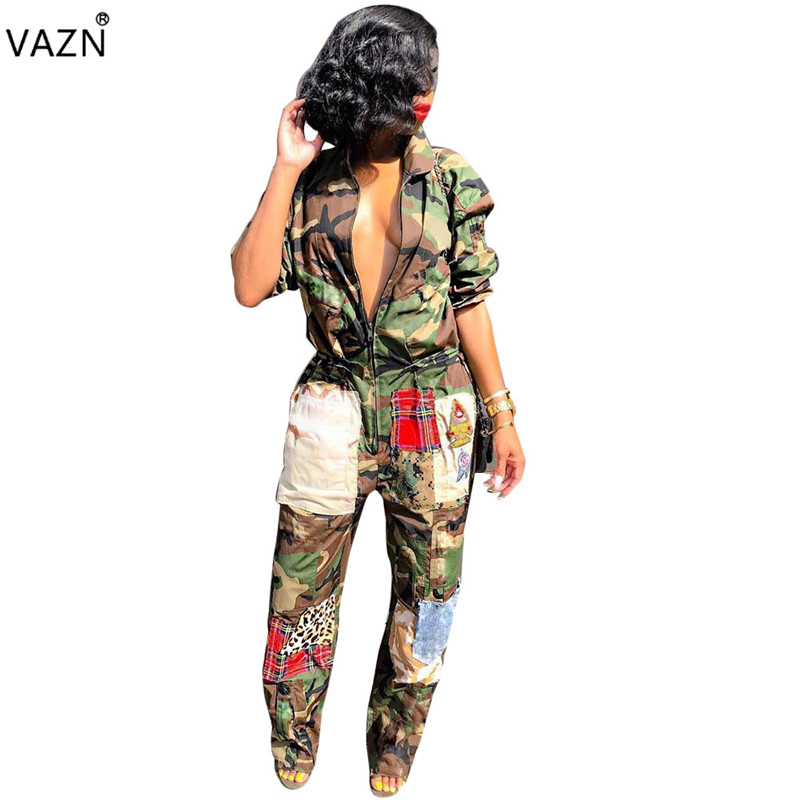 VAZN Autumn Hot Fashionable Popular 2018 High Street Casual Women   Jumpsuits   Solid Full Sleeve Lady Stright Long Romper SN3454