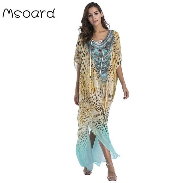 Msoard Chiffon Fashion Print Bohemian Long Maxi Dress Boho Clothing 2019 Summer Sundress Beach Sarongs Large Size Robes Women