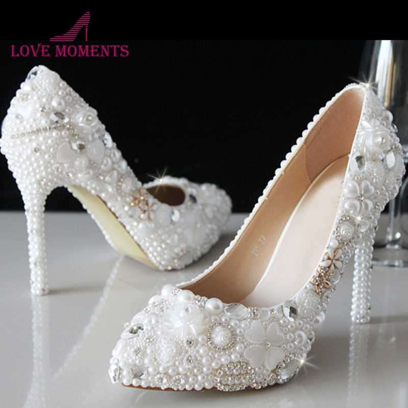 Luxury White Pearl Women High Heel New Evening Dress Pumps Crystal Bridal  Wedding Shoes Free Drop 860cec534319