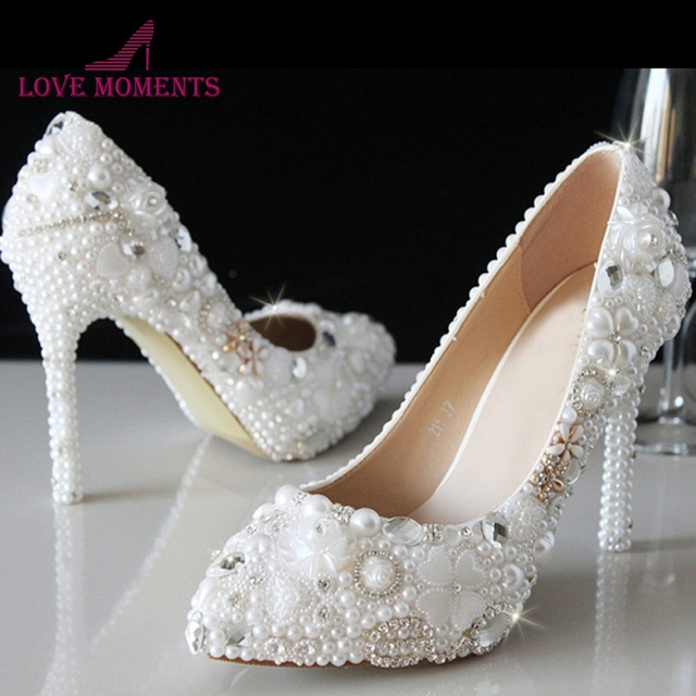 Luxury White Pearl Women High Heel New Evening Dress Pumps Crystal Bridal  Wedding Shoes Free Drop Shipping Pointed Toe Shoes 1516b88b3a97