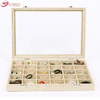2015 New Portable Linen Velvet Jewelry Beads Pendant Necklace Earrings Storage Tray Case 30 Compartment Display