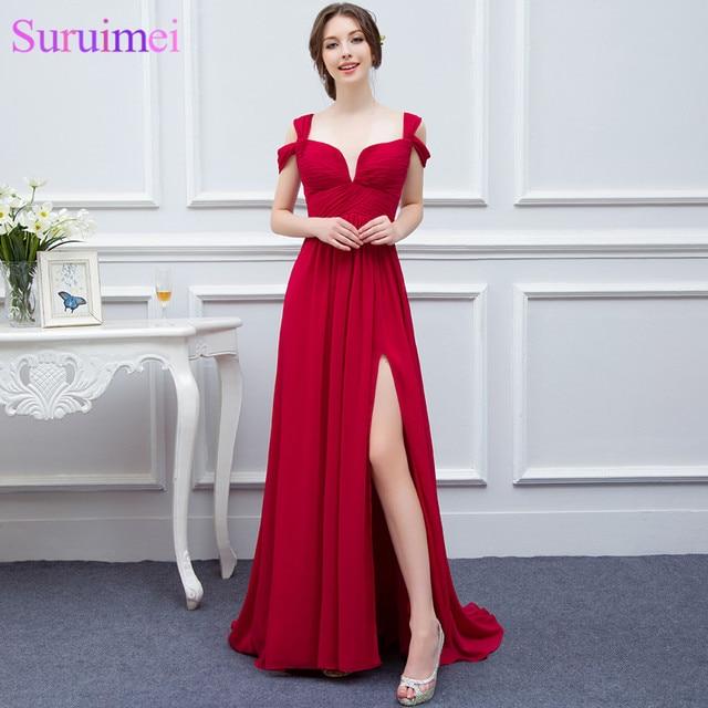 Elegance Red Girls Evening Gown Low Cut High Slit Semi Formal Long Chiffon  Evening Dress 12fbcf39d593