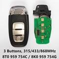 Car Smart Card Auto Remote Key Audi A4 S4 A5 S5 RS5 Q5 Quattro 315Mhz/433MHz/868MHz Keyless 8K0 959 754G 8T0 959 754C 754 C