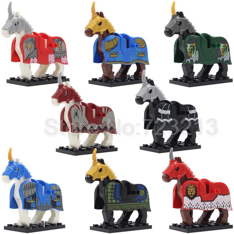 War Knight Horse Figure Single Sale Medieval Rome Vintage Knights Series Building Blocks Toys For Children X0158 single sale medieval castle knights dragon knights the hobbits lord of the rings figures with armor building blocks brick toys