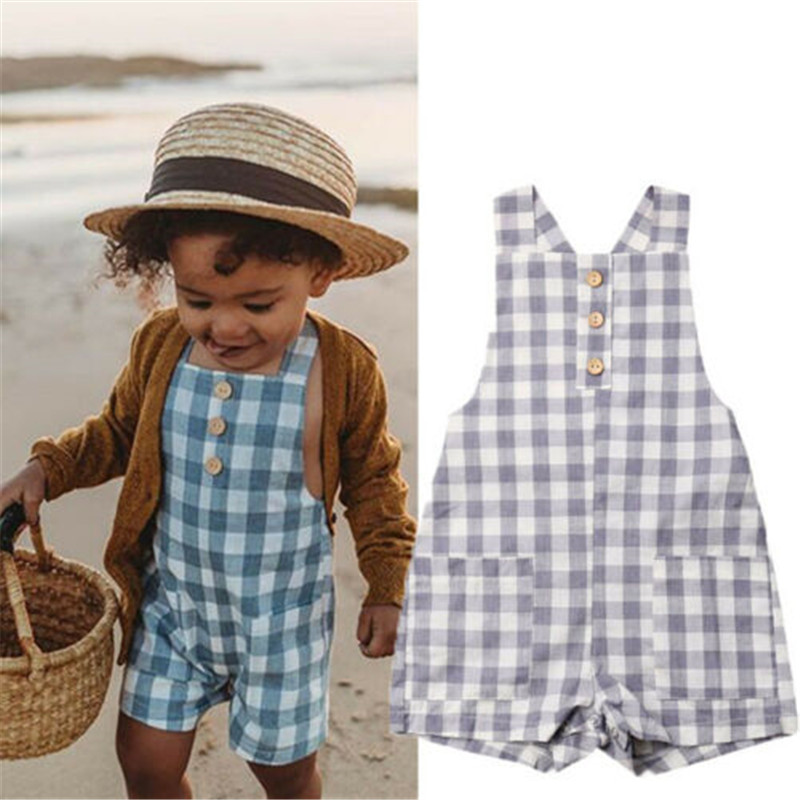 Casual Baby Girl Boy Plaid Romper Summer Sleeveless Sing Button Playsuits Unisex Baby Backless Sunsuit Cotton Clothes 0-24M