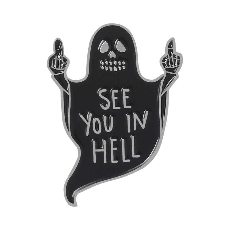 מות בגיהינום אמייל פין תג שחור סיכות רפאים Grim reaper סיכות כובע תרמיל מעיל דש פין אבזר נשים גברים מתנה