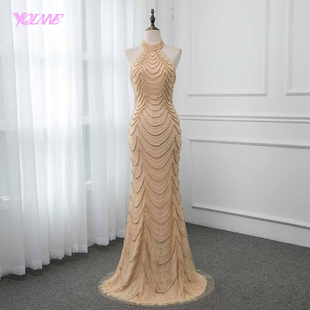 YQLNNE 2019 Nude Halter   Evening     Dress   Long Mermaid Backless Pageant   Dresses   Robe de Soiree