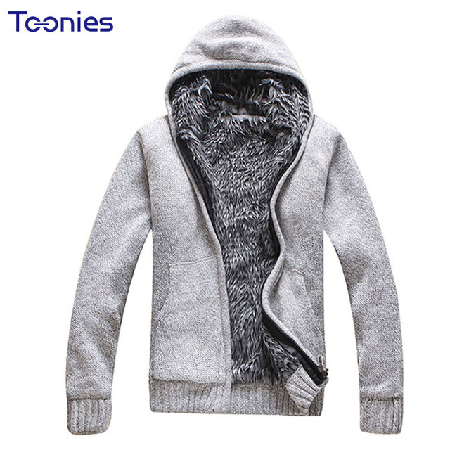 2018 Winter New Men Hooded Cardigan Sweater Male Thick Cardigans ...