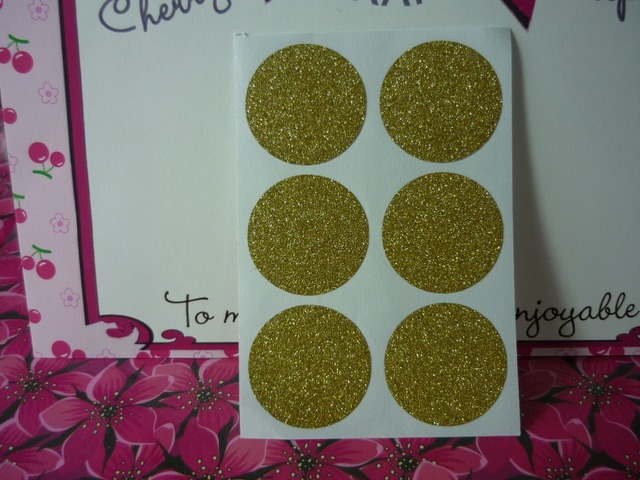 3cm gold round glitter stickers