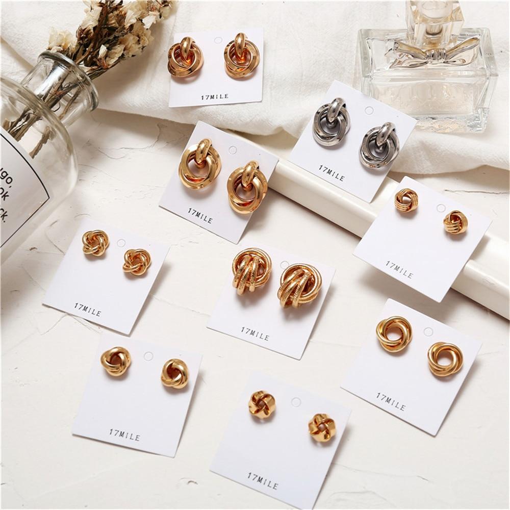 17 Km 2019 Gold Farbe Knoten Stud Ohrringe Für Frauen Neue Mode Brincos Aussage Unregelmäßigen Metall Runde Ohrring Geometrische Schmuck Ein Unbestimmt Neues Erscheinungsbild GewäHrleisten