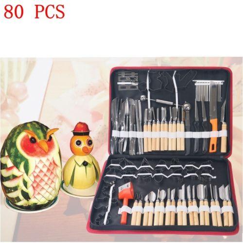 New 80pcs Vegetable Fruit Carving Chiseling Tool Knife Set For Kitchen, Dining fruit leaf knife stem remover gadget strawberry hullers kitchen tool