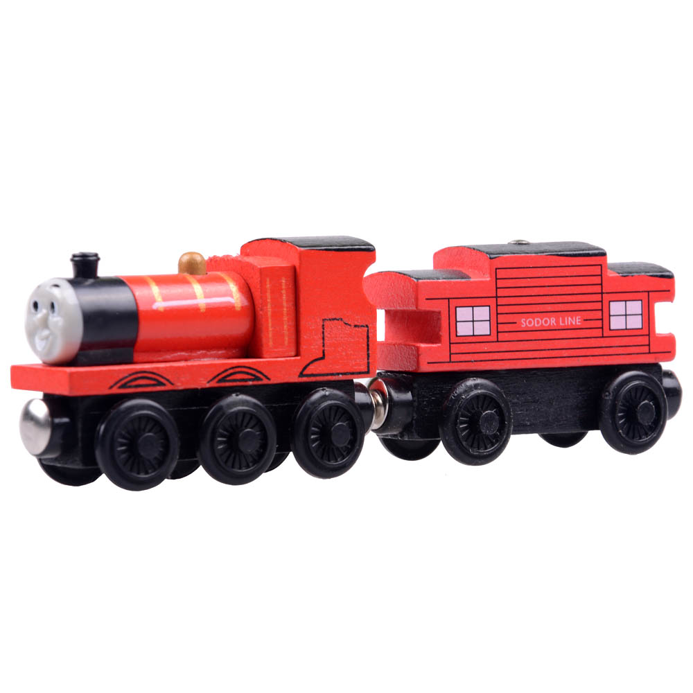 2pcs/lot Baby educational vehicle toys Wooden Magnetic Tomas Railway Train head James and Passenger car