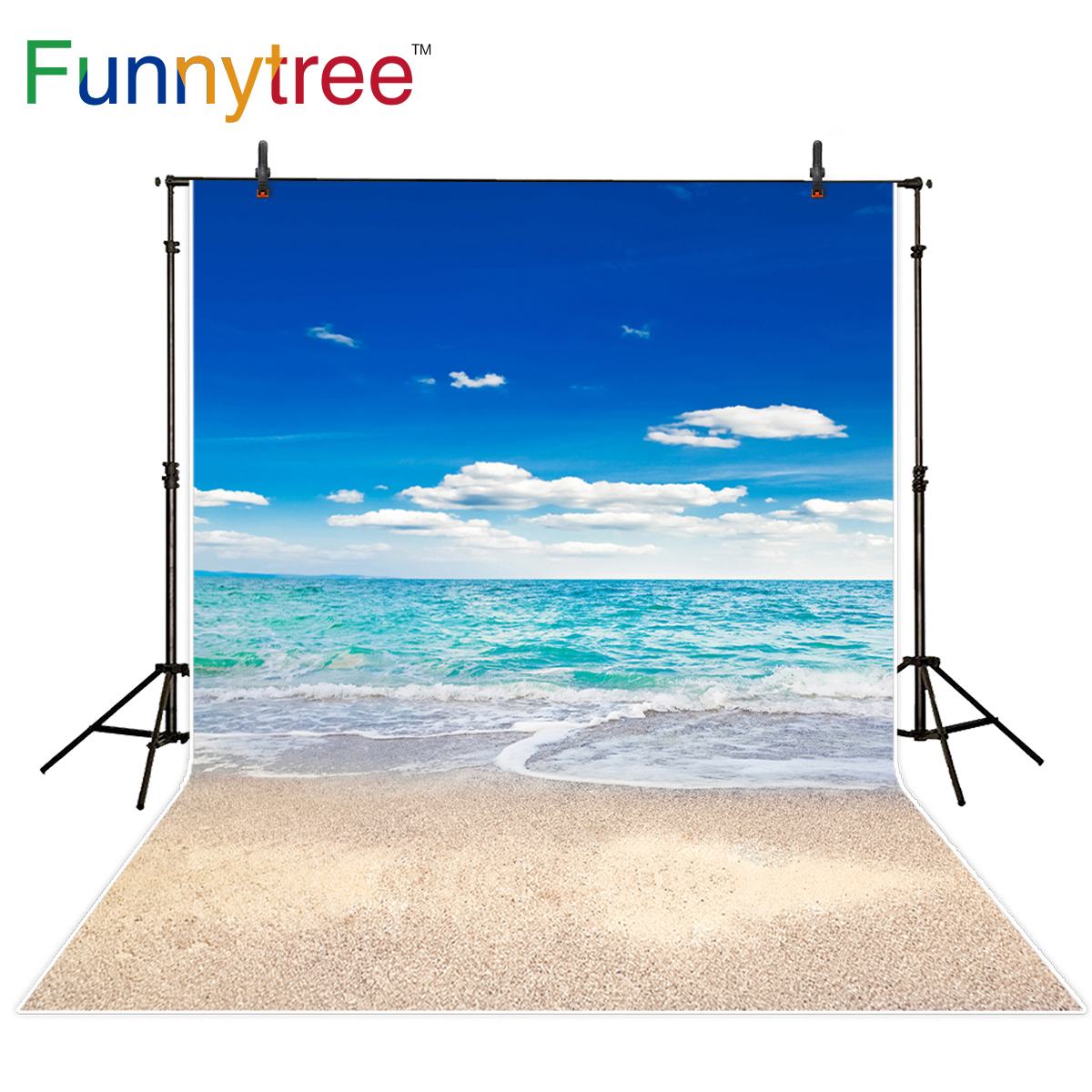 Funnytree photography background sea beach blue sky summer natural scenery backdrop photo studio photobooth professional newborn photography background blue sky white clouds photo backdrop vinyl balloons scattered petals backgrounds for photo studio