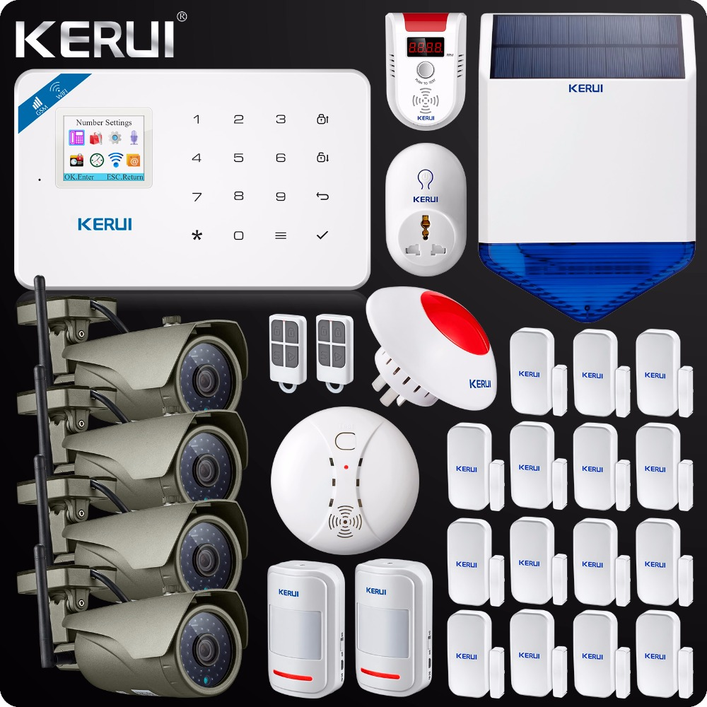 W18 WIFI GSM Burglar Home Security Alarm System touch panel 1080P Wifi IP camera Outdoor Solar