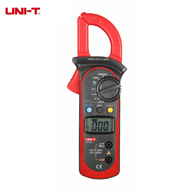 UNI-T UT201 Digital Clamp Multimeter 400-600A Voltage Current Resistance/Ohm Meter Tester Auto Range  цены