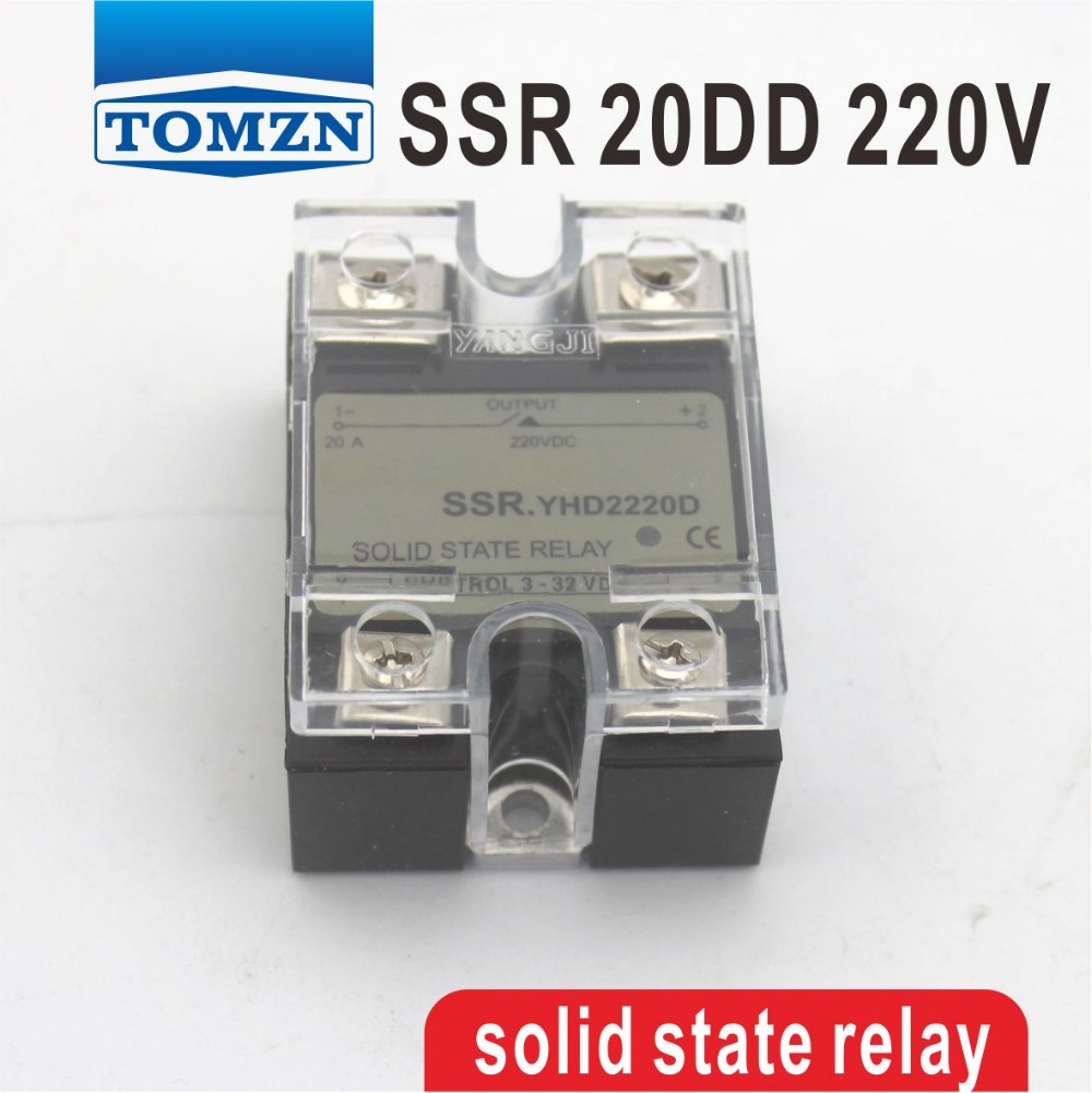 20DD SSR Control 3~32VDC output 5~220VDC single phase DC solid state relay 20A YHD2220D 20dd ssr control 3 32vdc output 5 220vdc single phase dc solid state relay 20a yhd2220d