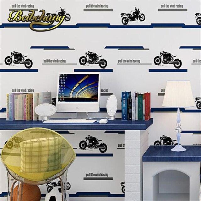 Beibehang Kinder Niedlich Tapete Cartoon Motorrad Streifen Junge  Kinderzimmer Wand Papier Vlies Schlafzimmer Papel De Parede