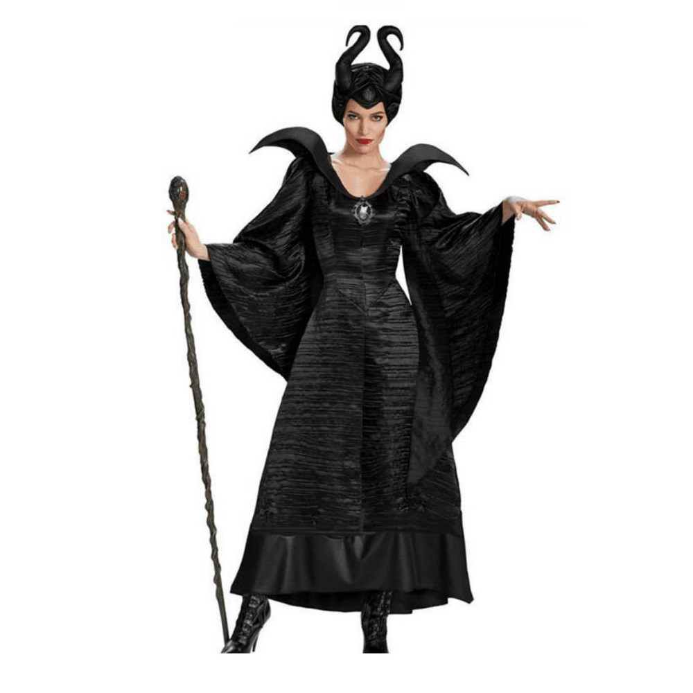 Halloween Costumes For Women Black Sleeping Beauty Witch Queen Maleficent Costumes Carnival Party Cosplay Fancy Dress With Hat