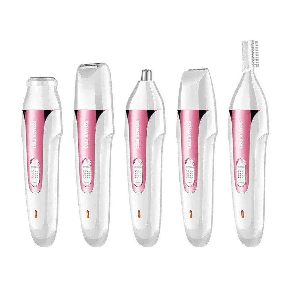 5-en-1 femmes épilation rasoir USB Rechargeable électrique rasage Machine Mini rasoir pour sourcil visage aisselles