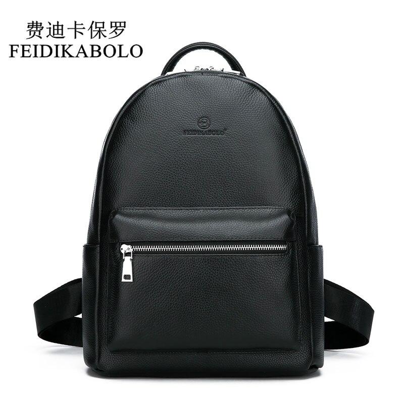 FEIDIKABOLO Genuine Leather Backpack Men Laptop Backpack School Youth Leather Backpacks for Teenage Men Casual Daypacks