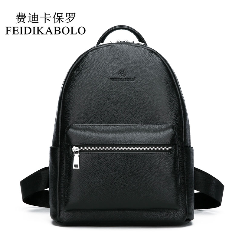 FEIDIKABOLO Genuine Leather Backpack Men Laptop Backpack School Youth Leather Backpacks for Teenage Men Casual Daypacks mochila