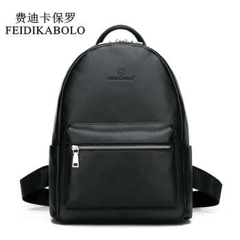 FEIDIKABOLO Genuine Leather Backpack Men Laptop Backpack School Youth Leather Backpacks for Teenage Men Casual Daypacks mochila - DISCOUNT ITEM  47% OFF All Category