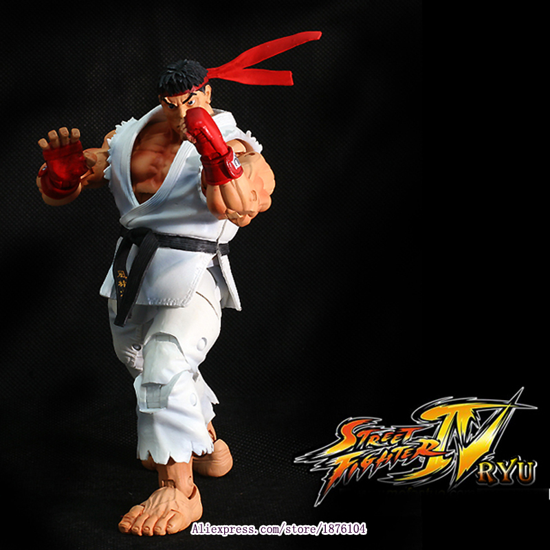 18cm NECA Player Select Ultra Street Fighter IV Survival Model Ken Masters Ryu Guile Gouki Action Figure Toy 5 Style White Black ultra street fighter iv