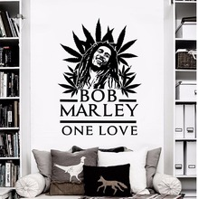 Sticker Bob Marley ONE LOVE Popular Singer Wall for Bedroom Removable Art Mural Home Decoration Decal AY0241