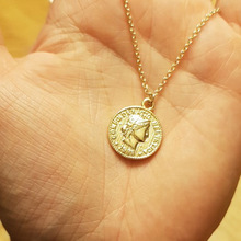 Simple Retro Coin Carved Pendant Necklace Bohemian Fashion Clavicle Long Chain for Women Jewelry