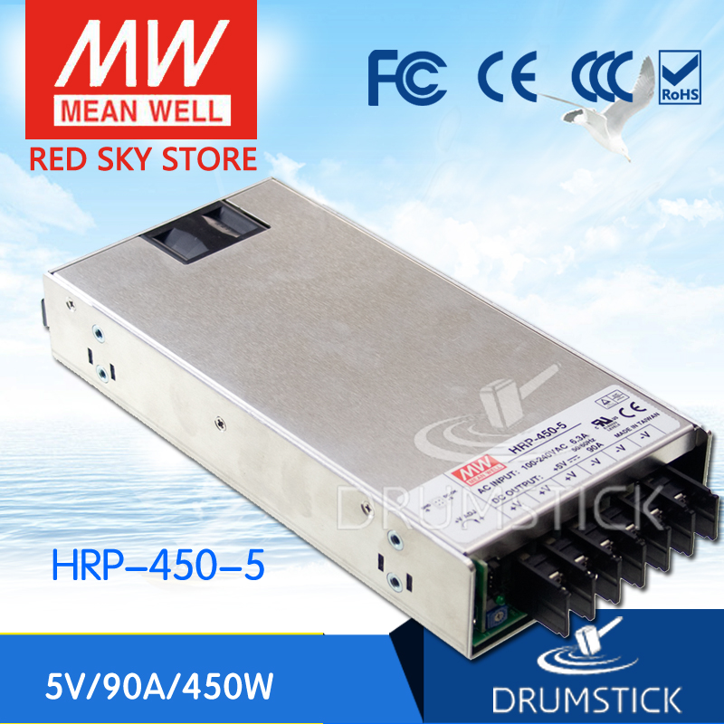 MEAN WELL HRP-450-5 5V 90A meanwell HRP-450 5V 450W Single Output with PFC Function Power Supply [Real1] best selling mean well hrp 200 7 5 7 5v 26 7a meanwell hrp 200 7 5v 200 3w single output with pfc function power supply