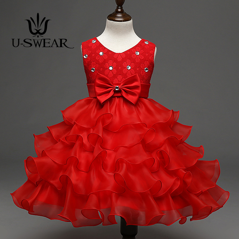 U-SWEAR 2018 New Arrival Flora Crystal Bling Bling Kid   Flower     Girl     Dresses   Ruffle Bow Soft Mesh Ball Gown   Dresses   Vestido
