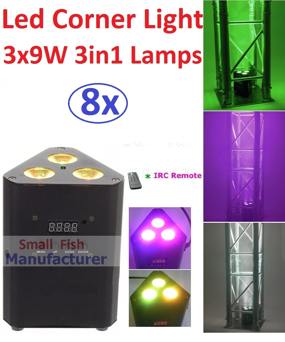 8xLot Led Mini Corner Light 3x9W 3in1 RGB Professional Stage Effect Lighting 30W Led Par DJ Disco DMX Laser Projector IR Remote transctego led stage lamp laser light dmx 24w 14 modes 8 colors disco lights dj bar lamp sound control music stage lamps