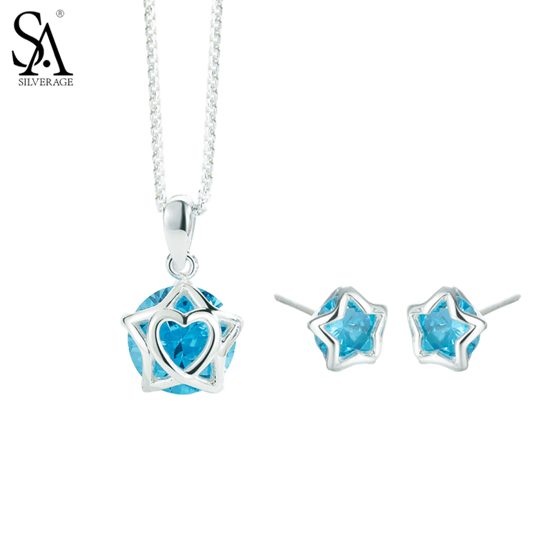SA SILVERAGE Real 925 Sterling Silver Star Jewelry Sets Stud Earrings Pendant Necklaces Fine Jewelry Women Blue 2017 Hot Sale sa silverage genuine 925 sterling silver fine jewelry for women stud earrings black 2018 hot sale