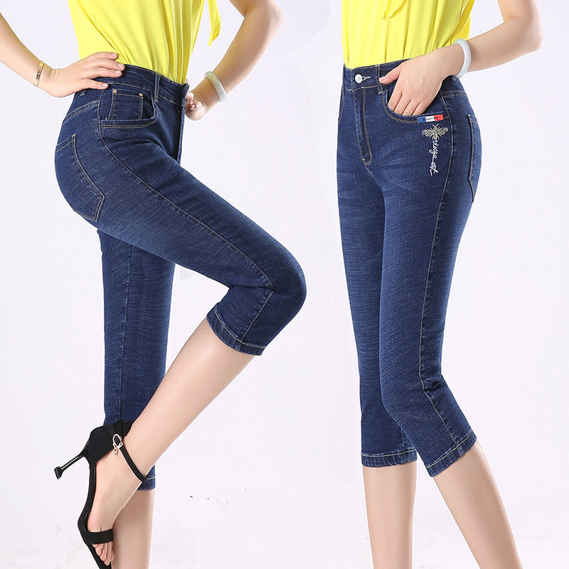 Summer Pants Skinny Women Capris   Jeans   Knee Length Denim Shorts   Jeans   Slim Embroidery Pants Female Stretch Plus Size