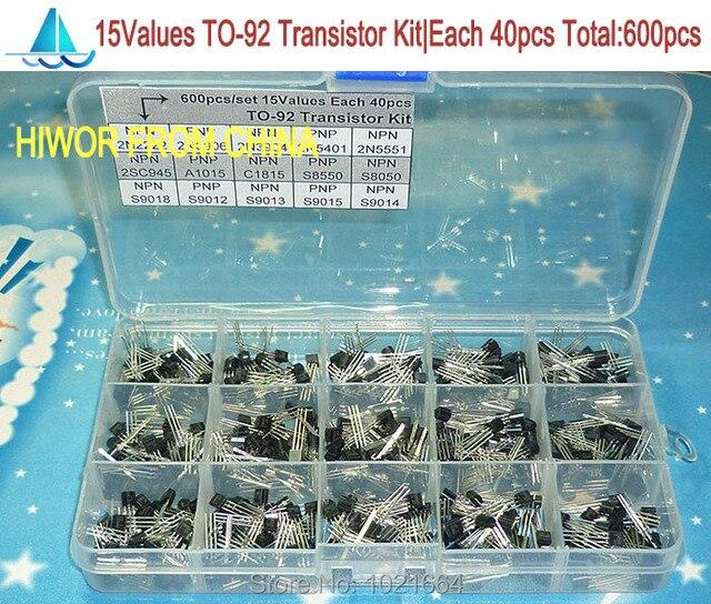(600pcs/lot) 15 Values TO-92 Transistor Assortment Assorted Kit Each 40pcs 2N2222 3906 3904 5401 5551 C945 1015 etc