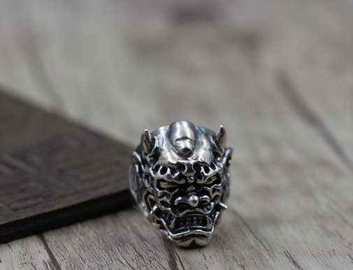 Evil Oni Noh Hannya Ring 925 Sterling Silver With An Open