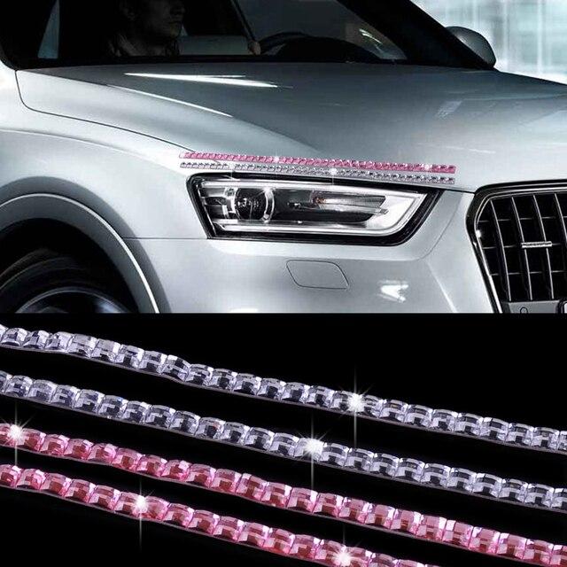 T0# 2PCS Car SUV Cubic Crystal Lashes Headlight Eyelashes Eyeliner Sticker  Acc Decor For BMW