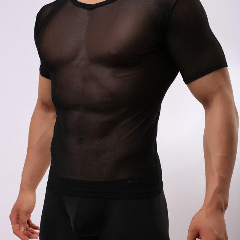 Fashion Brand 2017 Men Sexy Gauze Sheer Bodysuit