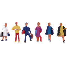 6x 1/87 HO Scale Painted Model People Passengers Characters Miniature Figures Architectural Model Human Plastic Scene Simulation(China)