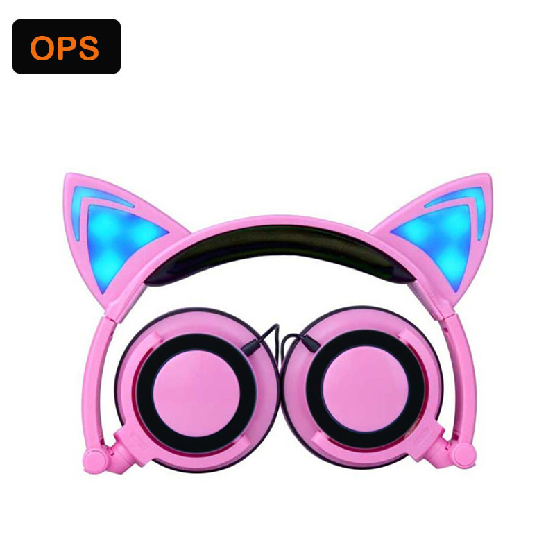 Foldable fashion Wired fone de ouvido Glowing Cat Ear headphones for PC Laptop /Computer/Mobile phone Auriculares plegables foldable flashing glowing cat ear headphones gaming headset earphone with led light luminous for pc laptop computer mobile phone