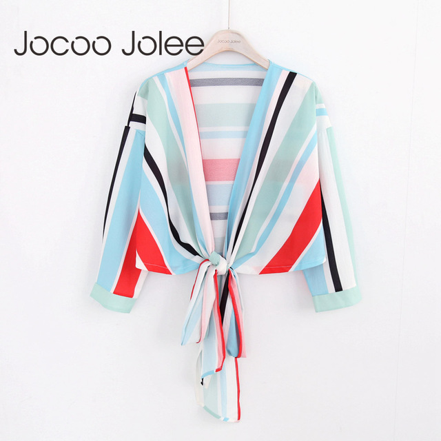Jocoo Jolee Sexy Deep V-Neck Women Colorful Striped Blouse Lace up Design Nine Quarter Sleeves 2018 Summer New Wearings
